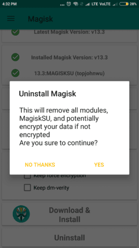 uninstall magisk root